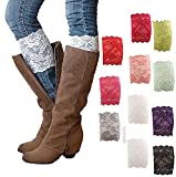 Gellwhu 3-12 Pack Women Lace Trim Boot Cuffs Toppers Leg Warmers (11 pack)