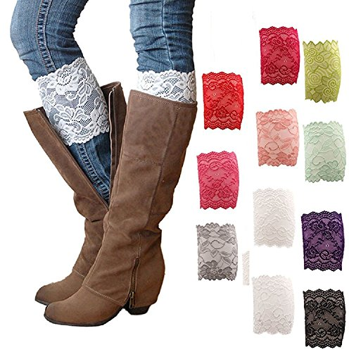 Gellwhu 3-12 Pack Women Lace Trim Boot Cuffs Toppers Leg Warmers (11 pack) (Women Boots Laces)