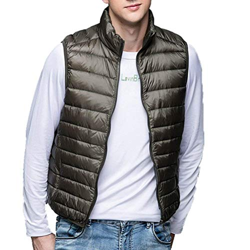 Zipper Winter Ultra Stand Down Sleeveless Army Down Autumn Jacket Jackets Men's Thin Good BOLAWOO Warm Vest Leightweigth Green Vest Collar Outerwear Fashion Down Brands wXaqOnY