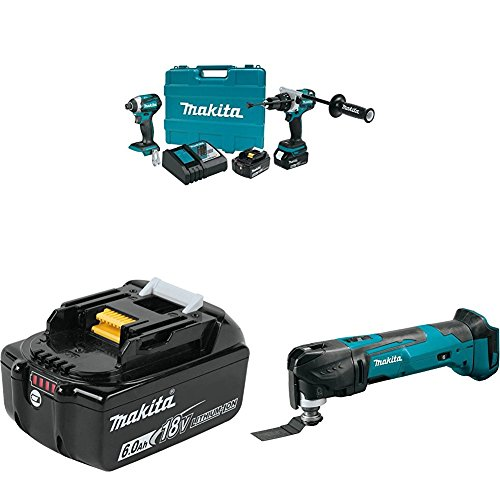 Makita XT268T 18V LXT Lithium-Ion Brushless Cordless 2-Pc. Combo Kit (5.0Ah) with BL1860B 18V LXT Lithium-Ion 6.0Ah Battery with XMT03Z 18V LXT Lithium-Ion Cordless Multi-Tool