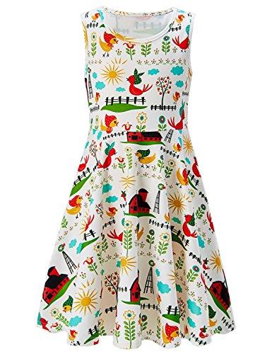 Sun Farms - RAISEVERN Girls Summer Sleeveless Dress Farm Printed Dress for Kids 10-13T