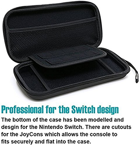 Large Product Image of Orzly Carry Case Compatible With Nintendo Switch - BLACK Protective Hard Portable Travel Carry Case Shell Pouch for Nintendo Switch Console & Accessories