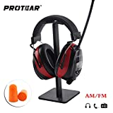 Protear Radio Ear Defenders Hearing Protector Safety Earmuffs, with AM/FM Radio MP3 Compatible, Electronic Noise Reduction Rate 25dB for Shooting and Working--Red