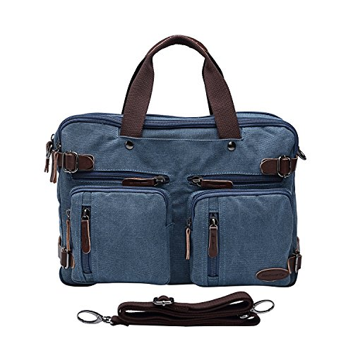 15.6inch Laptop Bag,Sheng TS Hybrid Multifunction Messenger Bag Convertible Laptop Rucksack BookBag Canvas for Men,Women,College Students (Vintage Blue Canvas, 15.6 inch)