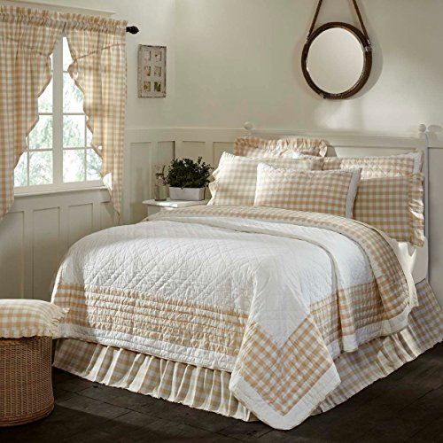 3 Piece Tan White Plaid Pattern Quilt Queen Set, Elegant Classic Buffalo Checkered Design Borders, Hand-Work Tufted Check Bedding, Classic French Country Style, Solid Colors, Cotton, For Unisex by MI