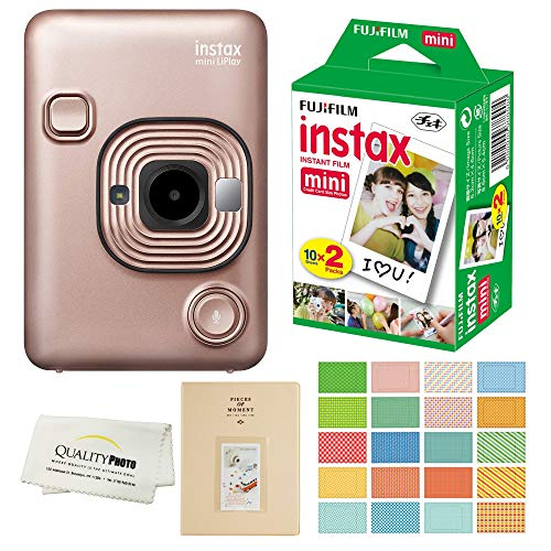 Fujifilm Instax Mini LiPlay Hybrid Instant Camera with 20 Instant Films and Photo Album. Plus Stickers. Bonus Quality Photo Microfiber Cloth (Blush Gold)