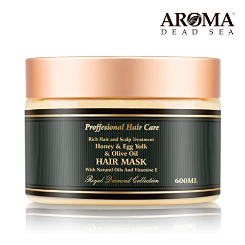 Aroma Premium Hair Mask - 600ml, Honey Egg Yolk Olive Oil Dry Hair Mask for Women - Natural Scalp & Root Treatment for Damaged Ends - Natural Ingredients & Dead Sea Minerals - Moisturizes & Hydrates
