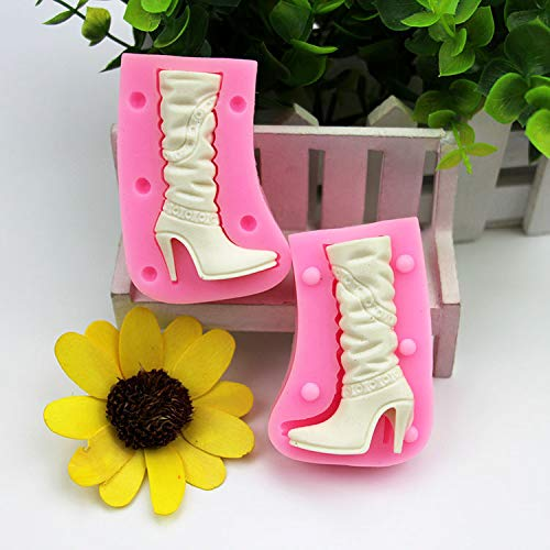 Dama 3D Shoes Boot Fondant Cake Molde Silicona Sugarcraft Hig