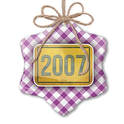 NEONBLOND Christmas Ornament Birth Year 2007 Purple Plaid
