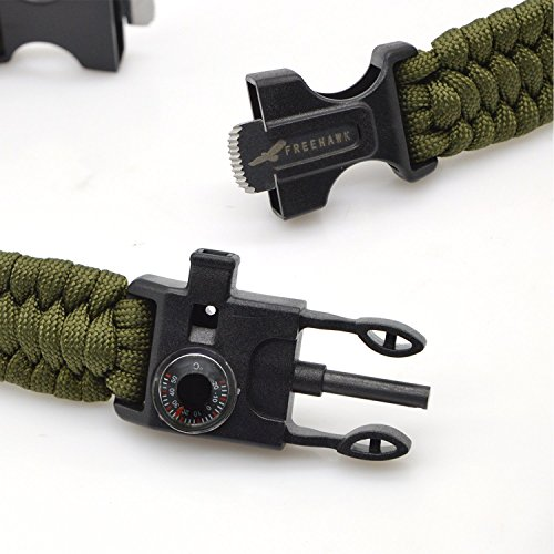 Freehawk-Tactical-Outdoor-Survival-Paracord-BraceletEmergency-Kit-With-Thermometer-Fire-Starter-Scraper-Whistle-Kit-Parachute-Cord-Escape-Survival-Gear-Pack-for-FishingHikingHunting