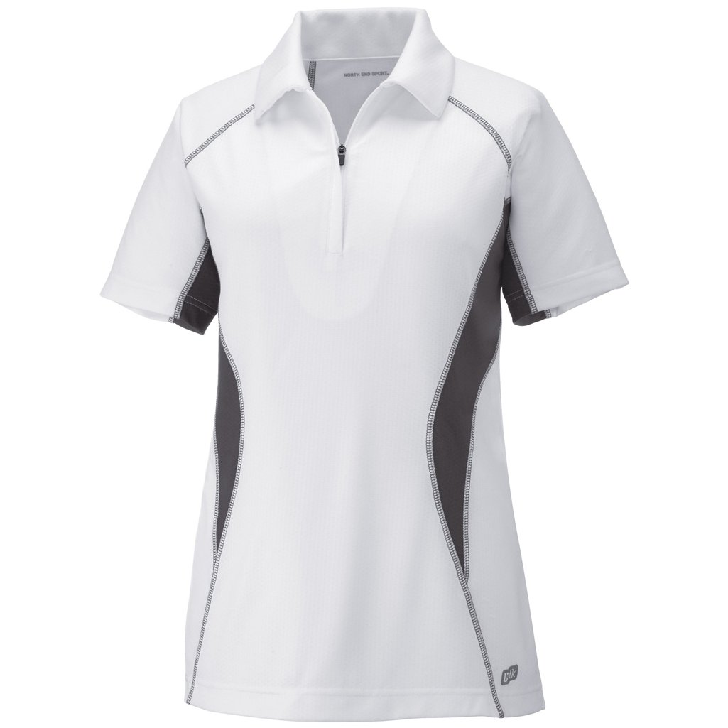 Ash City Womens Serac Performance Zipped Polo (Medium, White/Black Silk) by Ash City Apparel