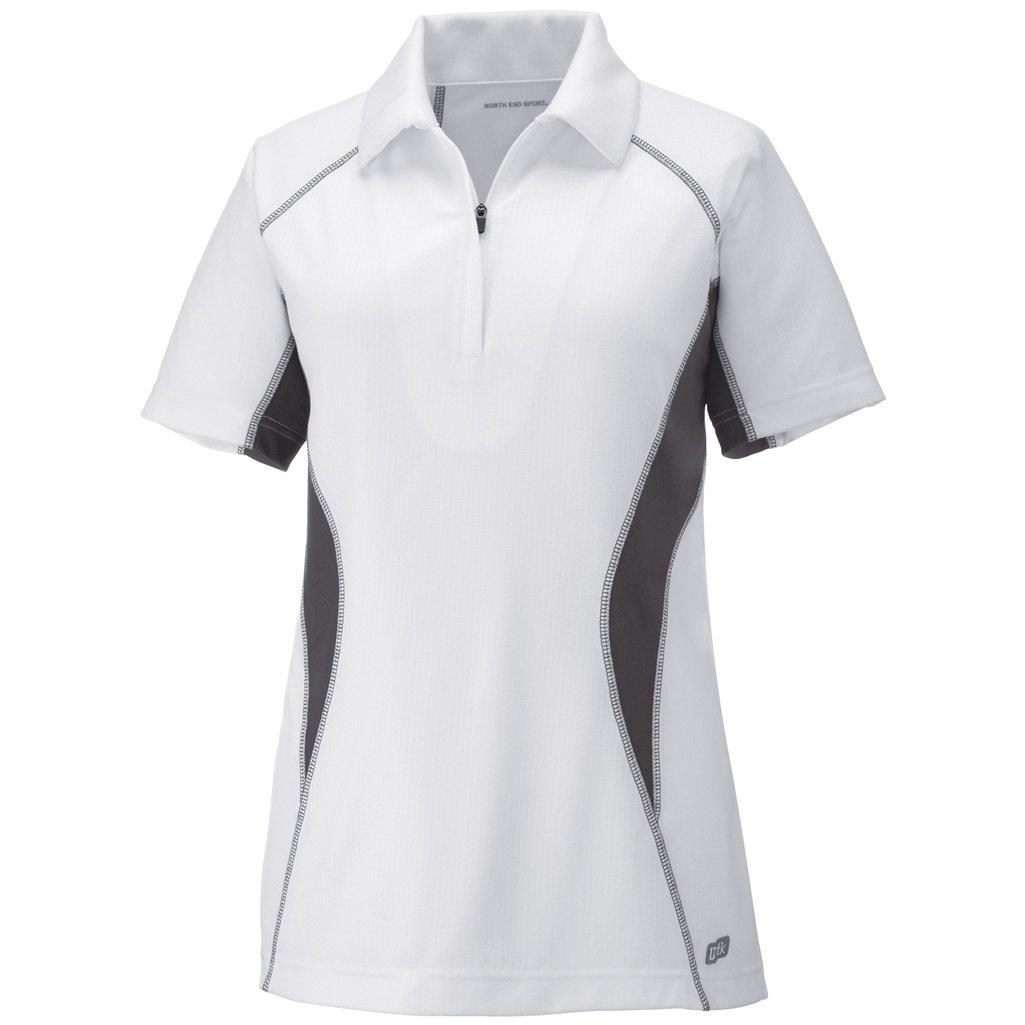 Ash City Womens Serac Performance Zipped Polo (X-Small, White/Black Silk) by Ash City Apparel
