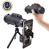 Monocular telescope Dual focus Prism Night Vision waterproof dustproof shockproof Scope for Bird Watching, Camping, Outdoor Hunting (black)