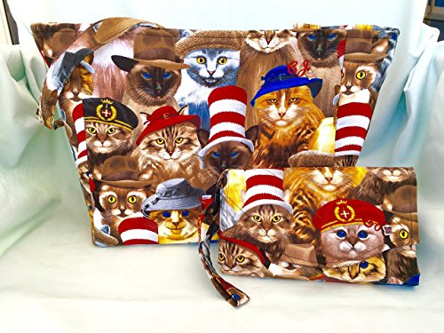 Cats with Hats Purse and Billfold/Wallet/Small Tote/Womens/Girls/Shoulder Bag/Wristlets,Clutch,Everyday Purse,Cross-Body by C-J-Designs
