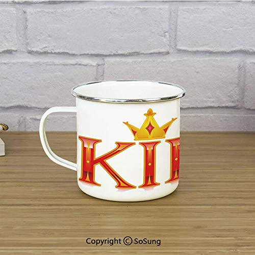 King Enamel Camping Mug Travel Cup,Royal King Quote in Capital Lettering with Crown as Dot Vivid Slogan Like Art Print,11 oz Practical Cup for Kitchen, Campfire, Home, TravelRed and Gold