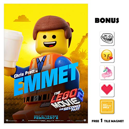 The Lego Movie 2 Movie Poster 13 in x 19 in Poster Flyer Borderless + Bonus 1 Free Tile Magnet