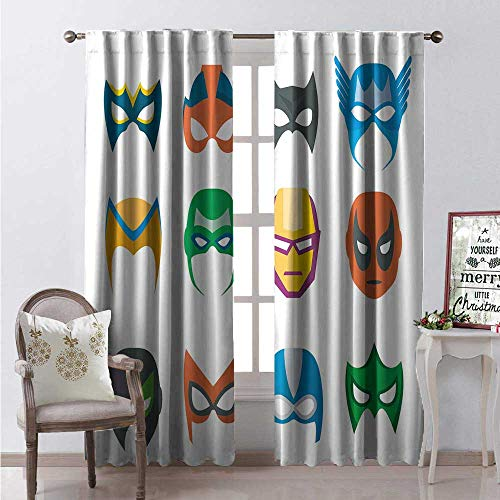 Superhero Waterproof Window Curtain Hero Mask Female Male Costume Power Justice People Fashion Icons Kids Display Decorative Curtains for Living Room W108 x L108 Multicolor