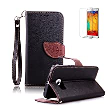 Samsung Galaxy S4 Case [with Free Screen Protector], Funyye Premium Stylish Flip Magnetic Detachable Folio PU Leather Wallet Leaf Magnetic Closure Design and Lanyard Strap and Stand Function Book Style with Credit Card Holder Slots for Samsung Galaxy S4 i9500 Case Cover - Black