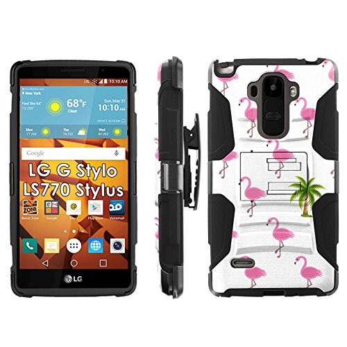 LG G Stylo LS770 H631 Phone Cover, Palm Tree Flamingos- Blitz Hybrid Armor Phone Case for [LG G Stylo LS770 H631] with [Kickstand and Holster] by Mobiflare