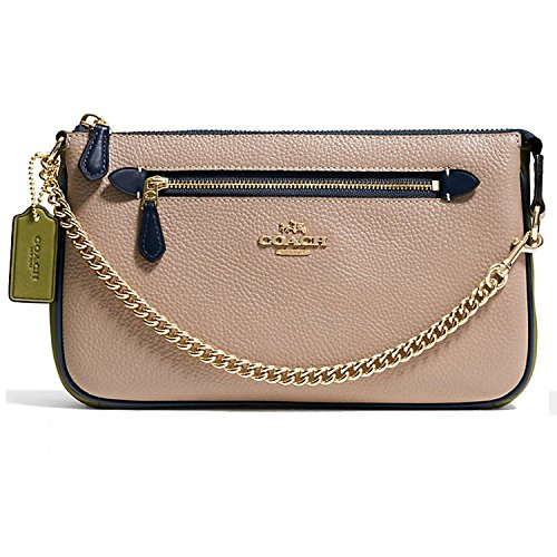 COACH Women's Color Block Polished Pebbled Leather Nolita Wristlet 24 Li/Stone Clutch by Coach