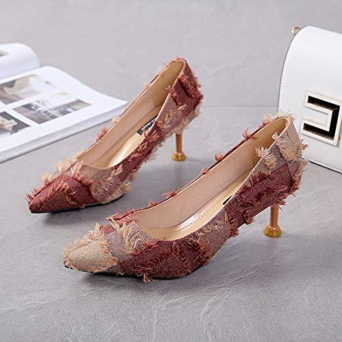 Felpa de Otoño DANDANJIE Dulce Mujer Zapatos Moda Corte de de de Mujer Zapatos Zapatos Marrón de A6AqF74