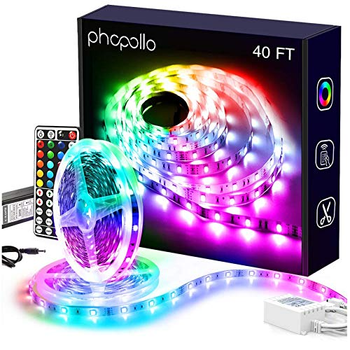 Phopollo Led Lights RGB Color Changing with Power Supply and Remote for Bedroom