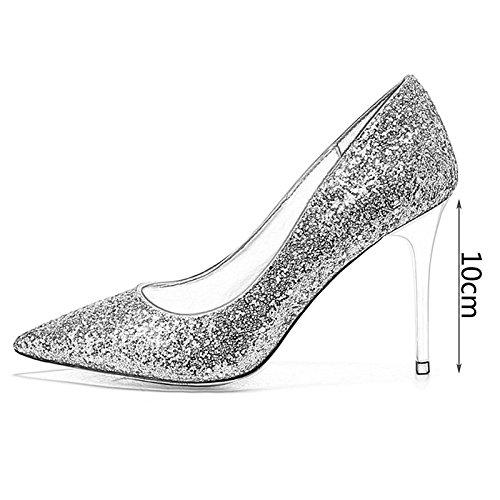 alto tacco paillettes in con per scarpe sposa WENJUN donna cristallo scarpe Scarpe sposa da da da a scarpe col punta abito sera SZfWn