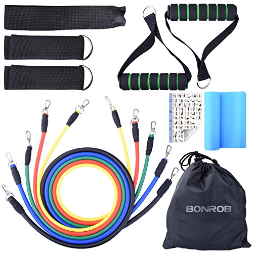 BONROB Resistance Band Set - Include 5 Stackable Exercise Bands with Waterproof Carrying Case, Door Anchor Attachment, Legs Ankle Straps and Exercise Guide Ebook - 100% Life Time Guarantee BC007 by BONROB