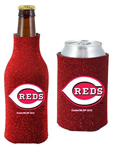 MLB Baseball Team Logo Womens Glitter Bottle & Can Cooler Set 12oz Neoprene Beverage Drink Holder Sleeve (Cincinnati Reds)