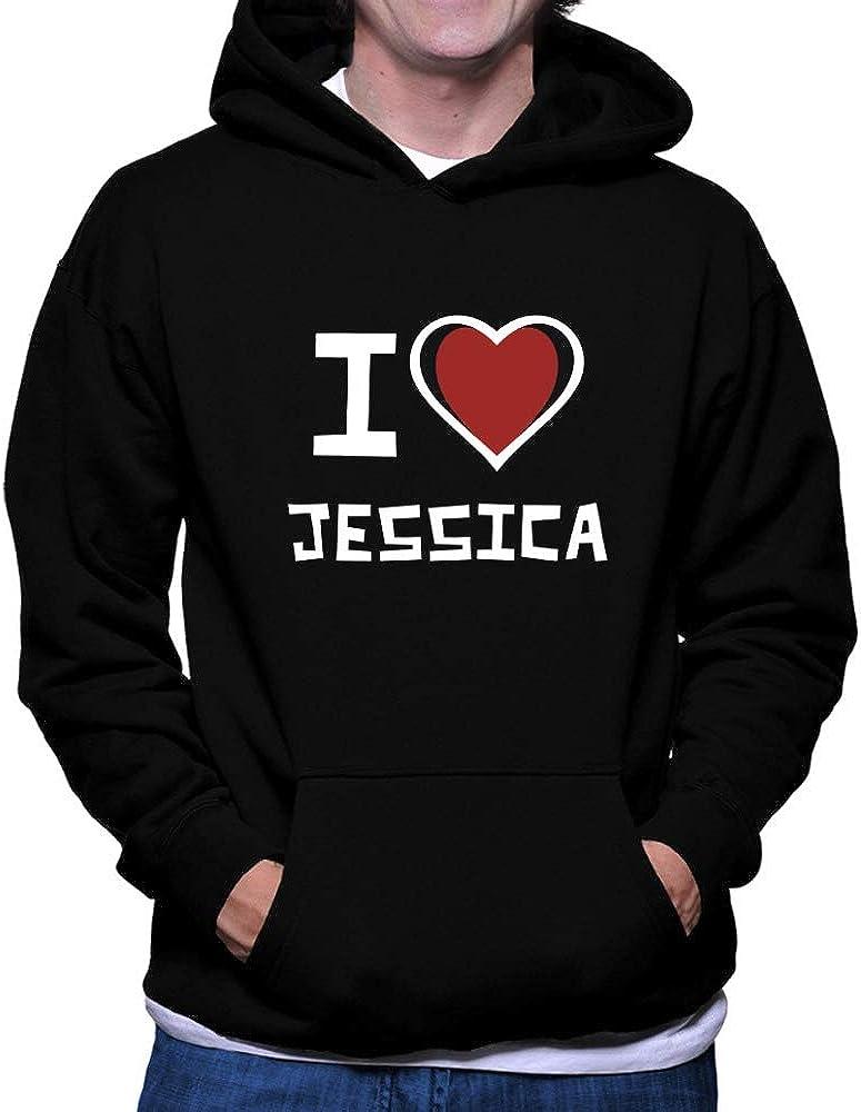Teeburon I Love Jessica Bicolor Heart Hoodie