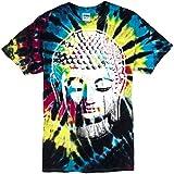 Mens Big Buddha Head Tie Dye Tee, 2XL Black Rain