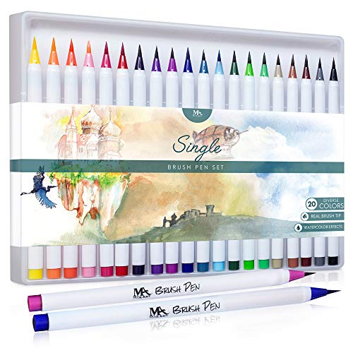 (MozArt Supplies Brush Pens Set - 20 Colors - Soft Real Brush Tip Marker Pens, Durable, Premium Grade Markers - Create Watercolor Effects - Ideal for Adult Coloring Books, Manga,)