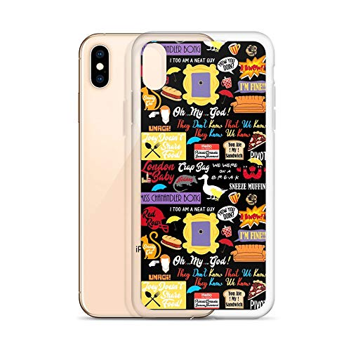 Friends TV Series Quotes Collage Cliparts iPhone Case - iPhone Xs Max, Mother's Day Birthday, Holiday, St. Patrick's Day Present, Gift Idea for ()
