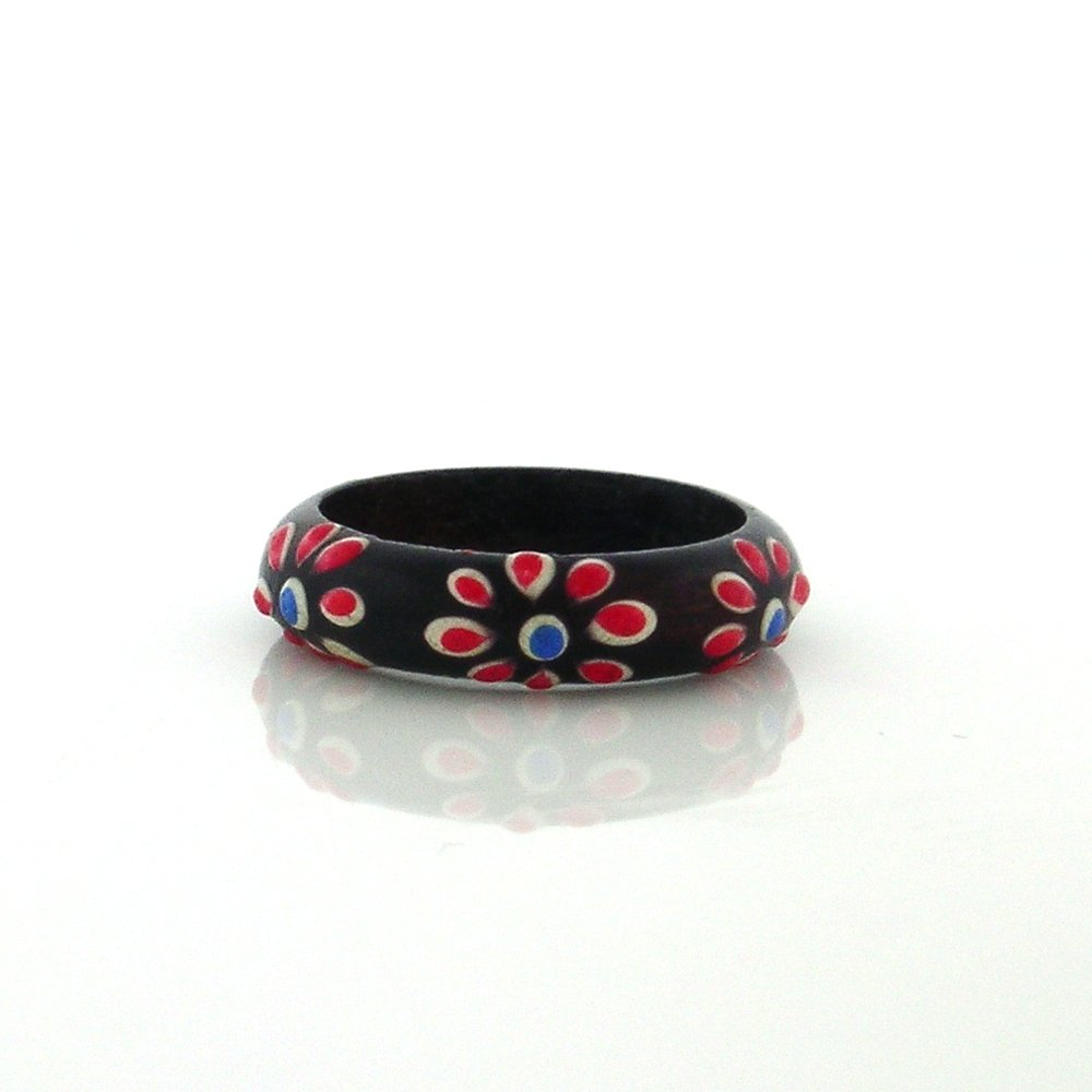 Handmade, Organic Red Dawn Flowers Sono Band Ring with Enamel Accents (7)