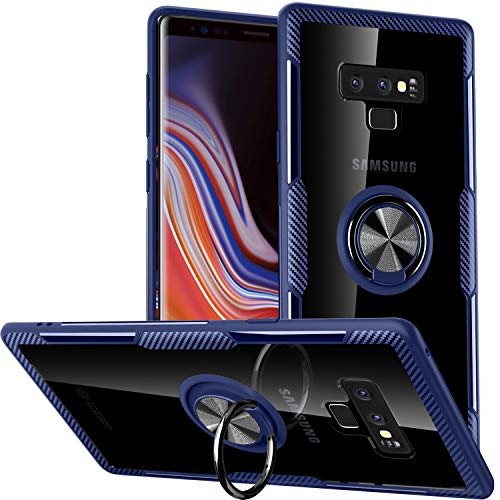 Galaxy Note 9 Case,SQMCase Crystal Clear Carbon Fiber Design Armor Protective Case with 360 Degree Rotation Finger Ring Grip Holder Kickstand [Work with Magnetic Car Mount] for Galaxy Note - Fiber Crystal Carbon Case