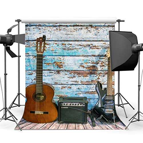 d Concert Backdrop 3X5FT Rock Music Guiter Vinyl Backdrops Nostalgia Wood Plank Wooden Floor Photography Background for 80's 90's Hip Hop Style Party Photo Studio Props LL171 ()