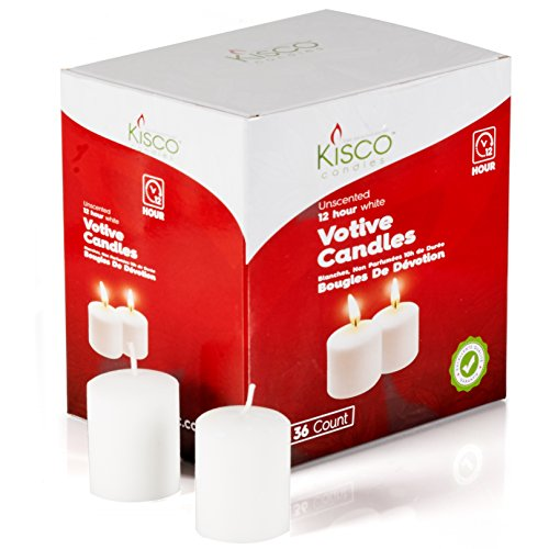 - Kisco Candles Votive Candles - Set of 36 Restaurant and Relight Party Candles -White Unscented Votive Candles - Home Décor Candles with Approx. 12 Hour Burning Time