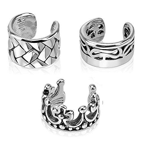 UNUStyle 3pcs Multi Design Rhodium Plated Brass Non Piercing Ear Cuff (3 PCS Set A) (Rhodium Brass Plated)