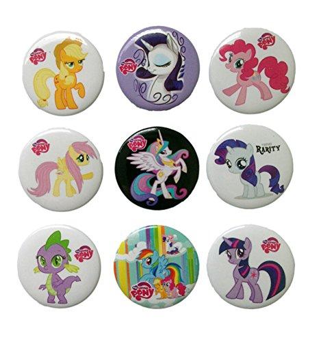 [Little Pony Buttons Badges 9 Pcs Set #1] (Disney Tinker Bell Kids Sparkle Shoes)
