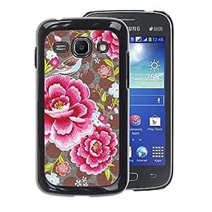 A-type Arte & diseño plástico duro Fundas Cover Cubre Hard Case Cover para Samsung Galaxy Ace 3 (Flower Petals Polka Dot Pattern Vintage)