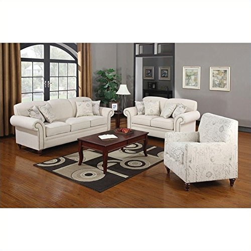 Coaster Norah 3 Piece Antique Inspired Sofa Set in Oatmeal C