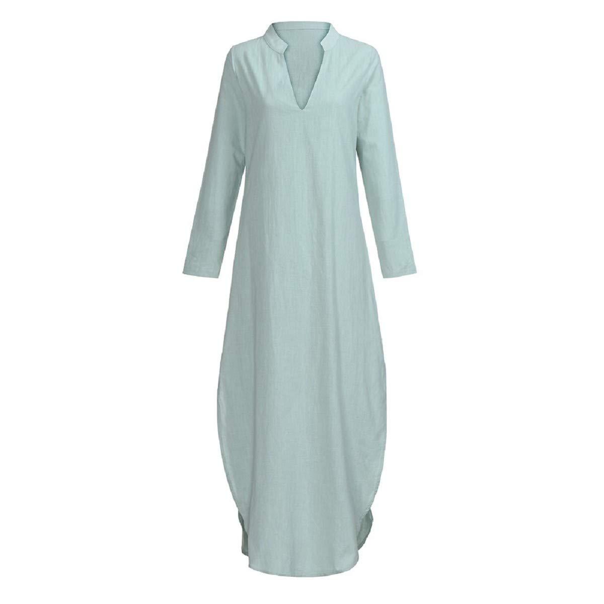 86210437f0d Amazon.com  OTINICE Women Long Sleeve Casual Loose Dresses V-Neck Linen Maxi  Beach Long Dresses  Clothing