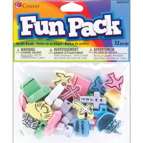 - Cousin 34734134 Fun Packs 32-Piece Package Christian Beads