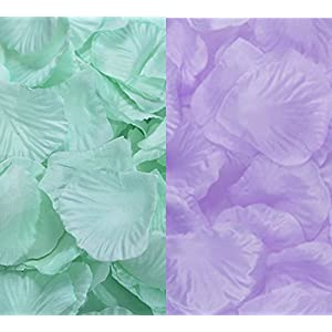 2000 Pcs Qingsun Artificial Flowers Silk Rose Petals Wholesale Home Party Ceremony Wedding Decoration Mint Green + Purple 118