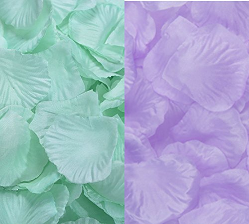 2000 Pcs Qingsun Artificial Flowers Silk Rose Petals Wholesale Home Party Ceremony Wedding Decoration Mint Green + Purple