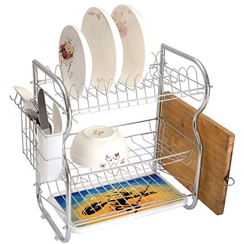 Stainless Steel 3-Tier Dish Drainer Rack Native American Kitchen Drying Drip Tray Cutlery Holder War Dance Ritual Against Ancient Totem Poly Effect Triangles Abstract,Pale Orange Blue,Storage Space Sa