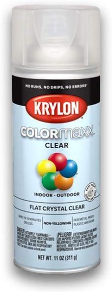 Krylon K05547007 COLORmaxx Acrylic Clear Finish for Indoor/Outdoor Use, Flat Crystal Clear