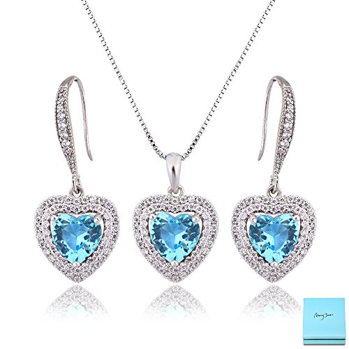 AMYJANE Bridal Jewelry Set for Women - Heart of Ocean Aquamarine Crystal Cubic Zirconia Love Necklace and Dangle Earrings Elegant CZ Jewelry Set for Wedding Bride Bridesmaids Mother's Day Gift Set by (Two Pendant Hearts Tiffany)