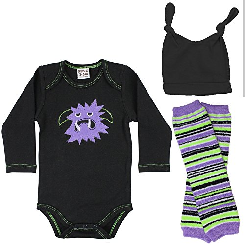 juDanzy Halloween & Christmas Baby Gift Box outfit set (6-9 Months, Purple (Monster Leg Warmers)
