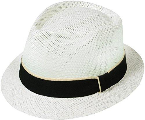 AshopZ Unisex Summer Outdoors Short Brim Straw Fedora Hat,Ivory2 - Gift Cards Rays Discount